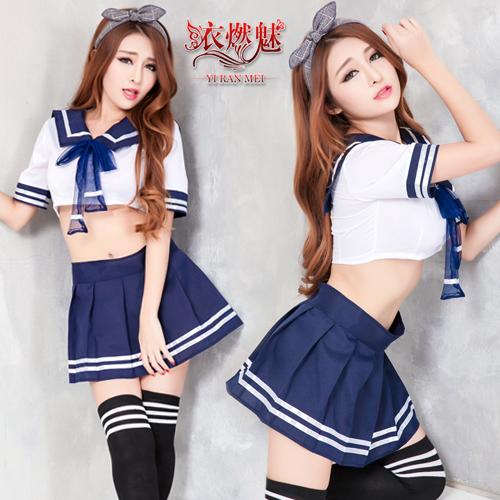 YIRAN MEI|青春校園 俏麗學生角色扮演服 四件式套裝 含棉質長筒襪 情趣衣