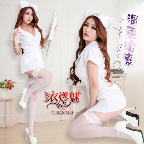 YIRAN MEI|溫柔治癒 四件式 護士角色扮演服 含絲襪 情趣衣 - 白