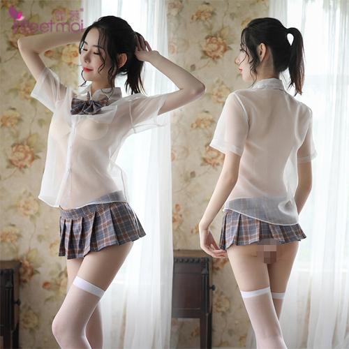 FEE ET MOI|學生 角色扮演服 透視襯衫格子百褶裙 五件式套裝 - 灰格