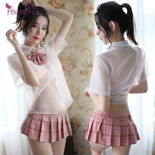 FEE ET MOI|學生 角色扮演服 透視襯衫格子百褶裙 五件式套裝 - 粉格