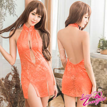 旗袍(愛在今夜)T9312-橘-F