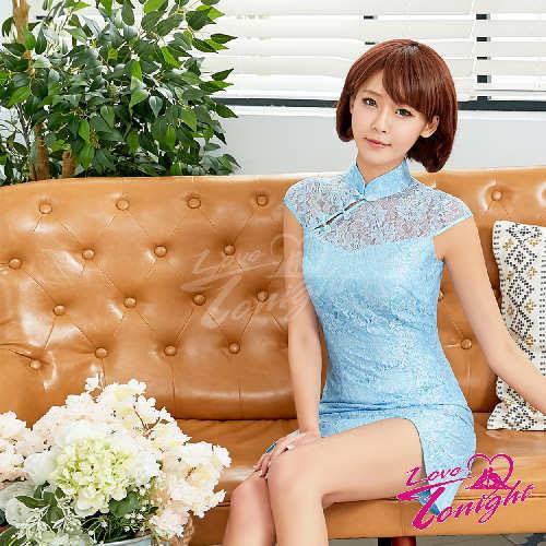 旗袍(愛在今夜)T9328-淡藍-F