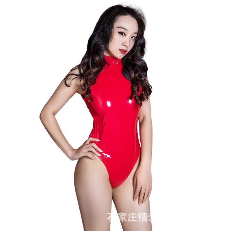 紅色 欲之誘惑 性感漆皮女王連體情趣內衣套裝-均碼
