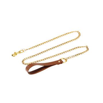 UPKO真皮項圈牽引鏈套裝-褐色