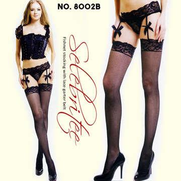 蝴蝶結吊帶褲襪-8002-黑-F