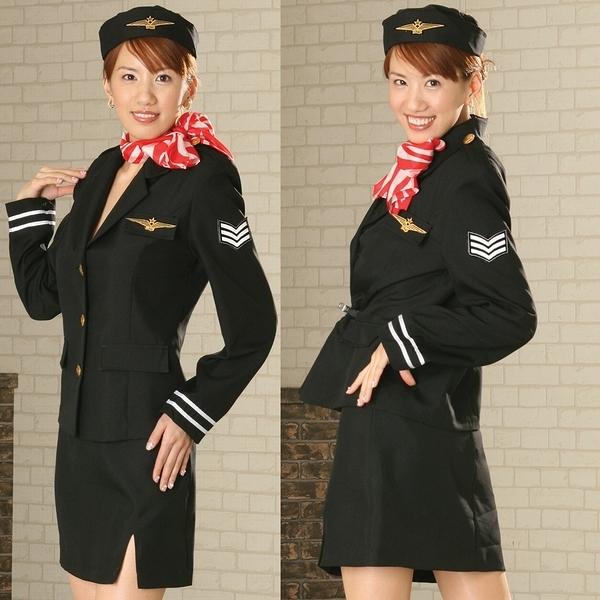 日系角色服-高雅空姐服-黑-F