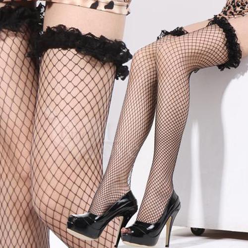 極致魅惑!立體荷葉網紗花邊性感大腿網襪﹝黑﹞