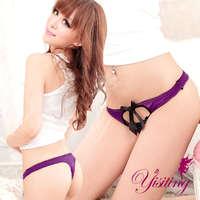 《Yisiting》鏤空性感蕾絲刺繡魅惑丁字褲﹝紫﹞