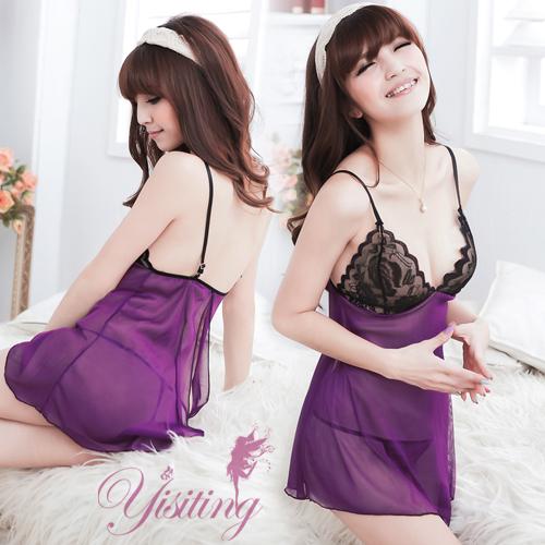 《Yisiting》微妙滋味!性感蕾絲薄紗透視睡衣﹝紫﹞
