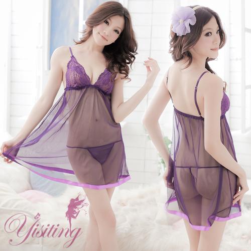 《YIRAN MEI》紫花情迷!性感蕾絲薄紗透視睡衣