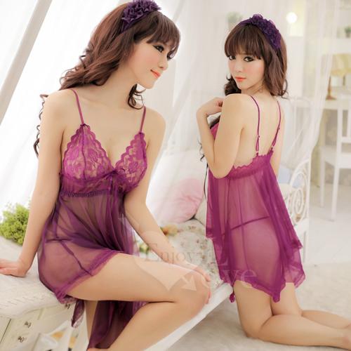 《Yisiting》魅惑挑逗!蕾絲柔紗二件式性感睡衣(紫)