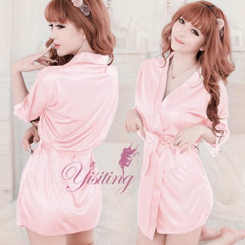 《Yisiting》經典の浪漫!柔緞和服睡袍﹝粉紅﹞
