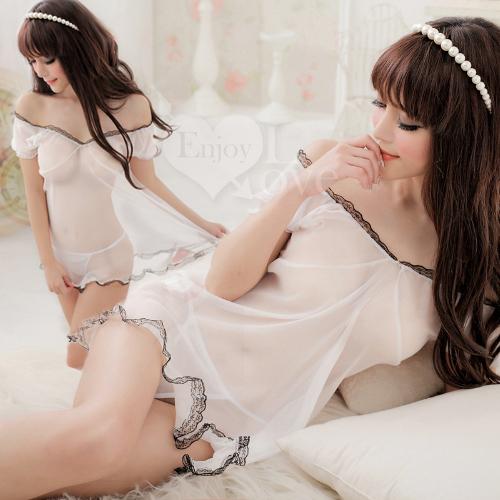 《Yisiting》純潔魅力!薄紗蕾絲二件式公主睡衣