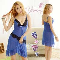 《Yisiting》藍情盪漾!歡愉兩件式柔紗情趣睡衣