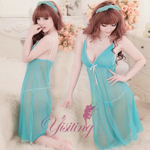 《Yisiting》為愛癡狂!性感網紗二件式睡衣﹝水藍﹞
