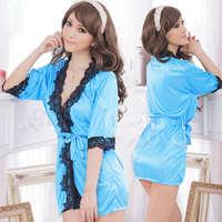 《Yisiting》愛在今宵!長袖透明蕾絲和服式睡衣﹝藍﹞