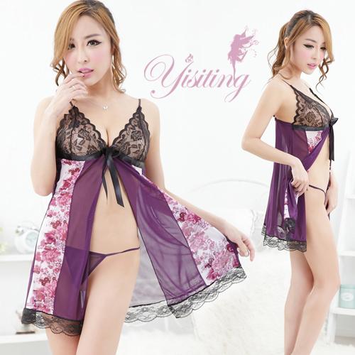《Yisiting》花簇邂逅!輕柔開襟性感睡衣﹝紫底紫花﹞
