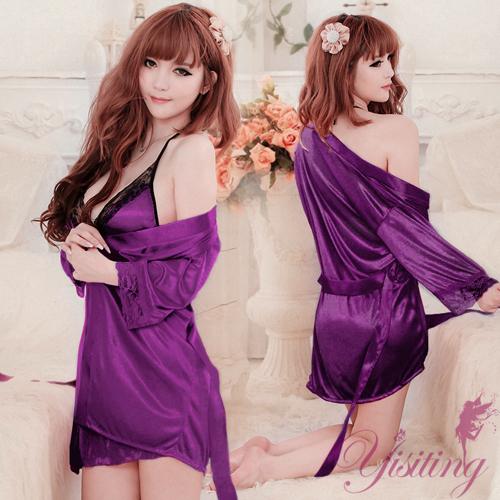《Yisiting》浪漫典雅!迷人柔緞睡衣三件組﹝紫﹞