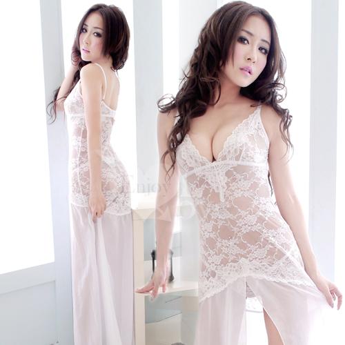 《YIRAN MEI》嬌柔凝視!前高開襟二件式性感長睡裙