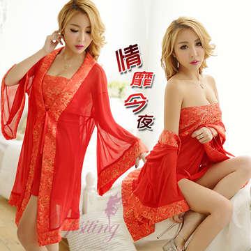 《Yisiting》情靡今夜!中國風緞面柔紗三件式睡袍組﹝紅﹞