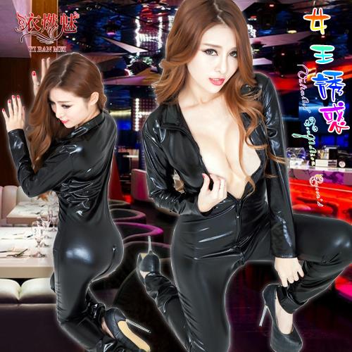 《YIRAN MEI》女王誘惑!雙拉鍊仿皮勁酷套裝