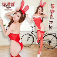 《YIRAN MEI》Sexy Bunny!三件式性感網紗兔女郎裝 - 含絲襪﹝紅﹞