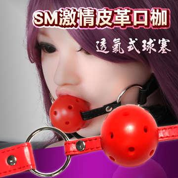 激情透氣式球型皮革口枷-紅