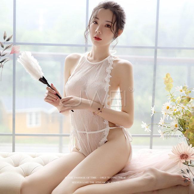微熱低語|透視蕾絲鏤空高衩 綁帶連體衣 - 白色