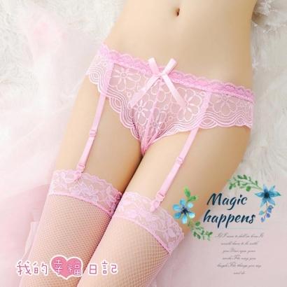 清純可人|純愛蕾絲吊襪帶+大腿蕾絲絲襪 情趣衣 - 粉