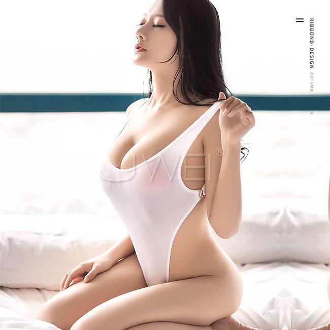 勁辣美人|深V高衩緊身連體衣 情趣衣 - 白色